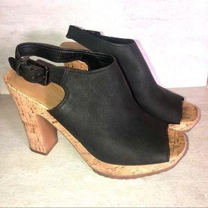 Franco Sarto Black Orchard peep toe leather heels